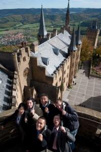 Dreharbeiten auf der Burg Hohenzollern.